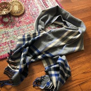 Express cream blue and black plaid oversized scarf